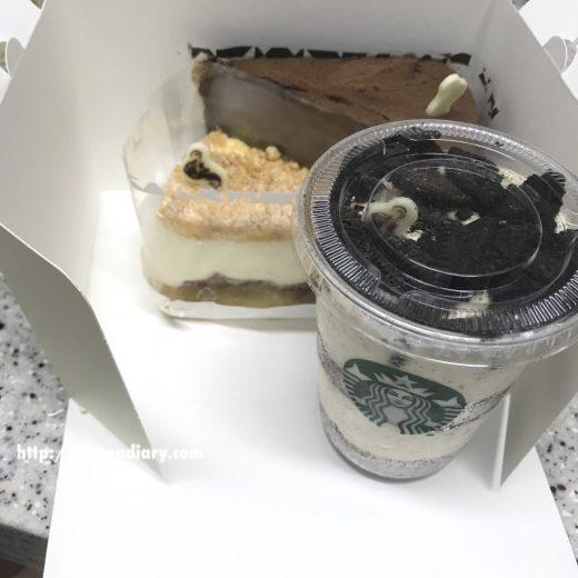 韓国スタバのケーキをお持ち帰り♪